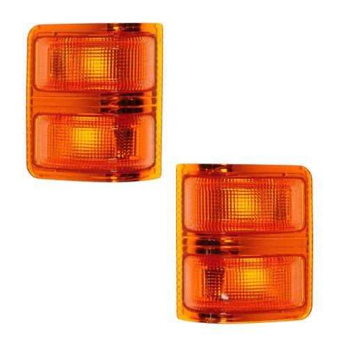 08-12 Ford Super Duty F250-F450 PU w/OE Tow Mirrors Amber Turn Signal Lens w/Bulbs PAIR (Mirror MTD)