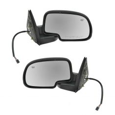 00-06 GM Truck Power Mirror Heated Pud Gloss Blk PAIR