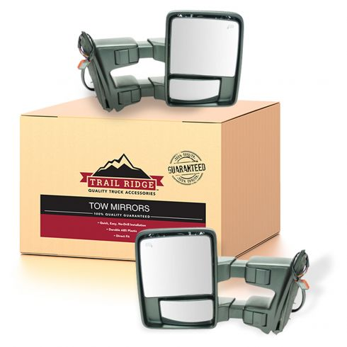 08-10 Ford SD PU Pwr Fold, Pwr Telescope Htd Smoked Turn Sig & Clrnce Lite Textrd Tow Mirror PAIR