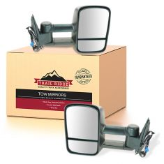 03-07 GM Silverado Sierra Telescopic Power Heated w/Smoked TS Towing Textured Black Mirror PAIR (TR)