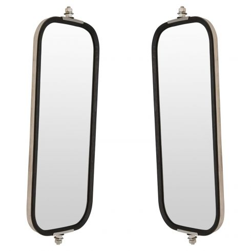 Heavy Duty Truck 16 x 7 OEM Style Ribbed Back Stainless Steel West Coast Mirror PAIR