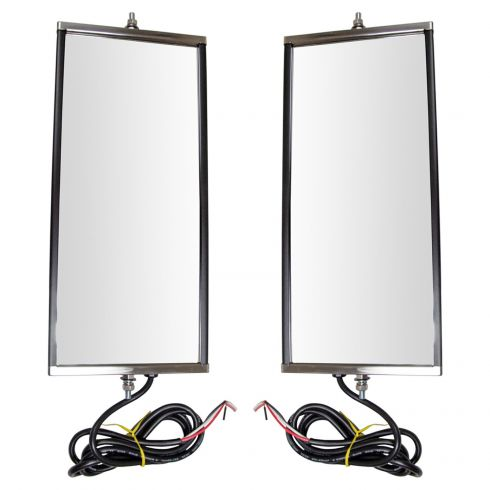 Heavy Duty Truck 16 x 7 Stainless Steel West Coast Heated Signal Mirror PAIR