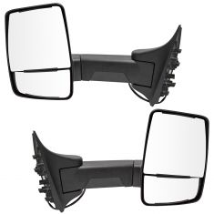 99-07 F250-F550; 00-05 Excursion (Long Arm, Dual HTD Glass) Upgraded Power Txt Blk TOW Mirror PAIR