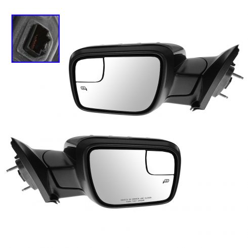 11-14 Ford Explorer Power Heated Puddle Light Turn Sign w/Spot Glass Gloss Black Mirror PAIR (FORD)