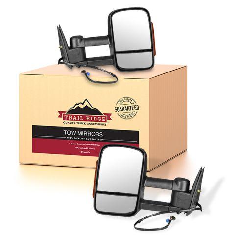 03-07 GM Truck Power Heat Amber Signal Text Black Tow Mirror Pair (Trail Ridge)