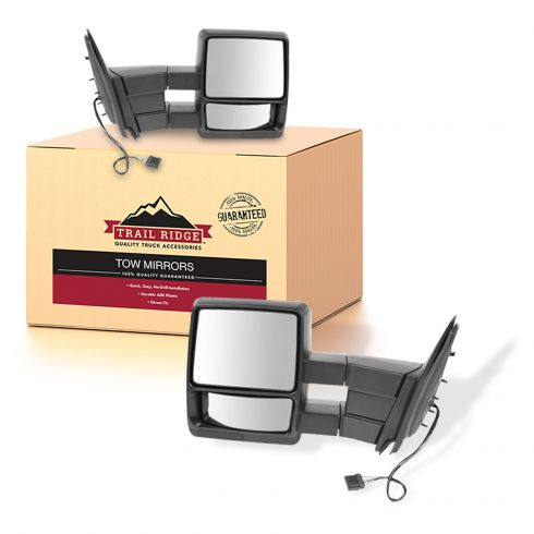 98-02 Ford Expedition Power Heated Textured Black Towing Mirror PAIR (Trail Ridge)