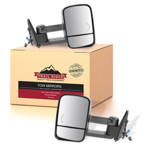03-07 GM Truck SUV Power Heated Red Chevron Signal Text Black Tow Mirror PAIR (Trail Ridge)