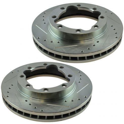 Nakamoto Performance Brake Rotor Drilled /& Slotted Coated Front Pair for Nissan