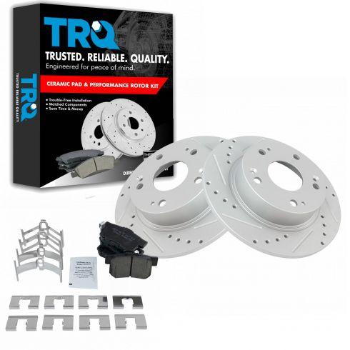 High-End 2 Brake Rotors 5lug Rear Kit 4 Ceramic Pads Fits: Accord TSX