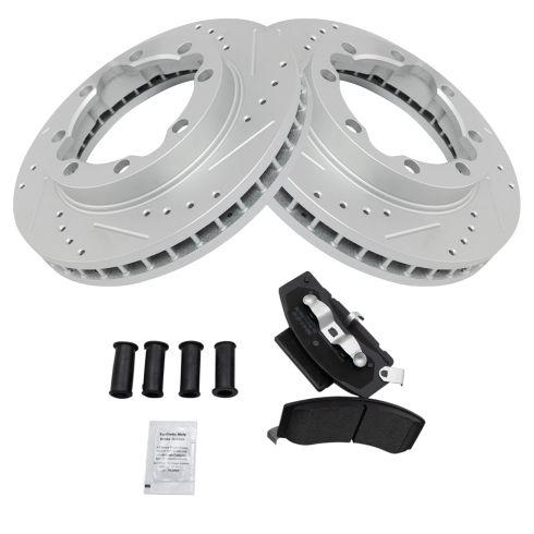 Front Performance Rotor & Posi Metallic Pad Kit 88-00 GM 3500, 94-99 Ram 25 3500