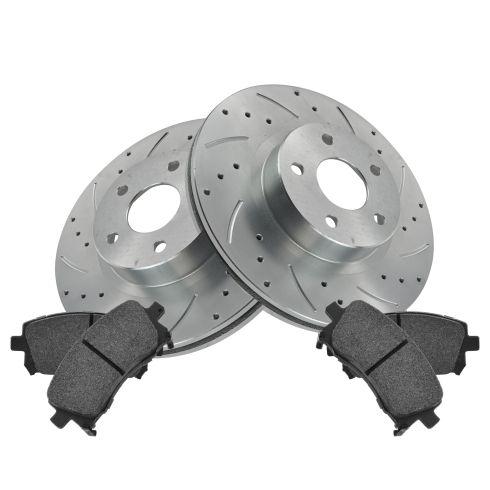 Nakamoto Performance Brake Rotor Drilled Slotted Coated /& Metallic Pad Front Kit