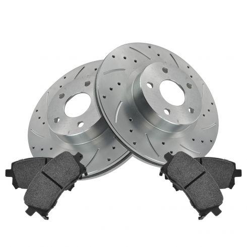 Nakamoto Front Ceramic Brake Pad /& Performance Drilled Slotted Coated Rotors