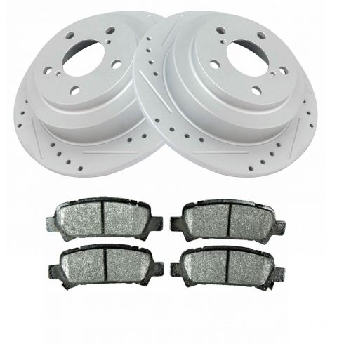 Rear Drilled Slotted Brake Rotors Ceramic Pad Fits 98-03 Subaru Forester 4 2