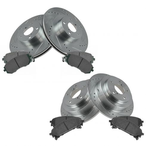 Ceramic Pad For Subaru Forester Impreza 266mm REAR Drilled Brake Rotors
