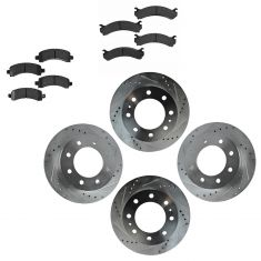 Front & Rear Performance Rotor & Posi Ceramic Pad Kit 03-14 Express Savana 2500, 3500