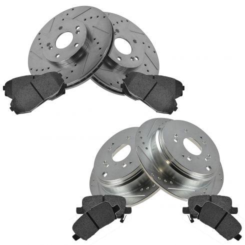 Front & Rear Performance Rotor & Posi Metallic Pad Kit 02-04 Odyssey