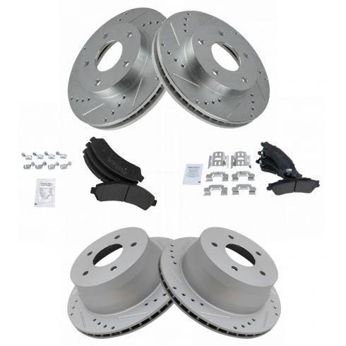 Front+Rear Kit Fits: 5lug High-End 8 Semi-Met Pads 4 Brake Rotors