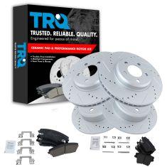 Front & Rear Performance Rotor & Premium Posi Ceramic Pad Kit 05-10 300 09-13 Challenger