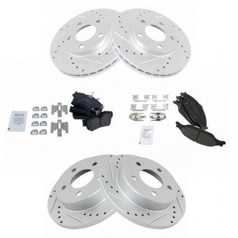Nakamoto Brake Pad /& Rotor Kit Front /& Rear LH /& RH Metallic for Ford Mustang