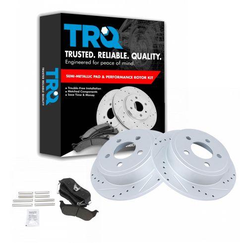 2 Brake Rotors Rear Kit Pads 4 Semi-Met 5lug For: Liberty Wrangler