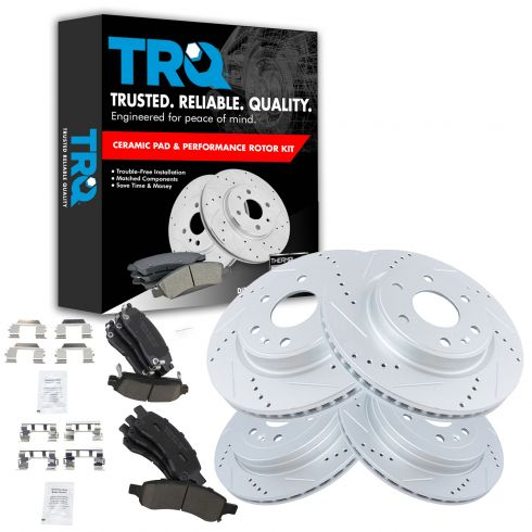 08-12 Enclave, Traverse, Acadia Front & Rear Performance Brake Rotor & Premium Posi Ceramic Pad Kit