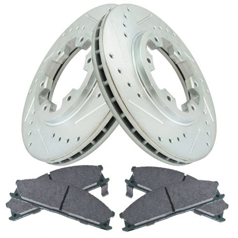 98-02 Frontier; 90-95 Pathfinder Front Performance Brake Rotor & Ceramic Pad Set