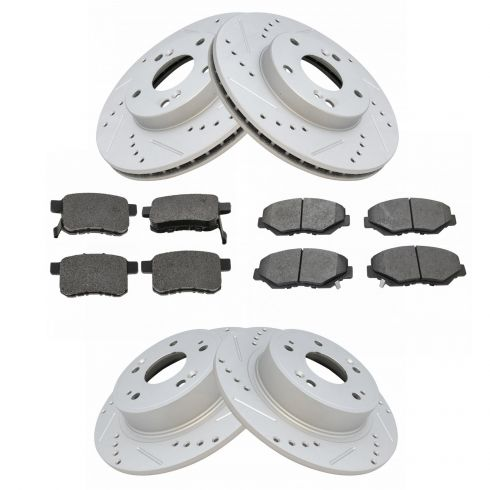 2 FRONT /& 2 REAR BLACK DRILLED And SLOTTED PREMIUM BRAKE ROTORS For ACCORD