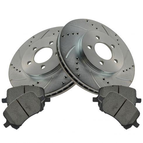 8 Ceramic Pads 5lug Fits:- Jeep Dodge Front+Rear Kit High-End 4 Black Coated Cross-Drilled Disc Brake Rotors