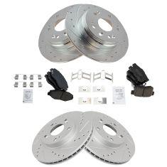 8 Ceramic Pads Fits:- CR-V High-End Front+Rear Kit 5lug 4 Black Coated Cross-Drilled Disc Brake Rotors