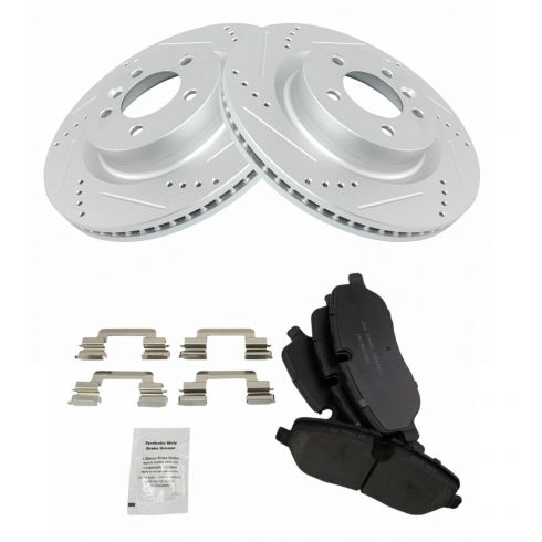 TRQ Front Posi Metallic Brake Pads /& Performance Drilled Slotted Coated Rotors