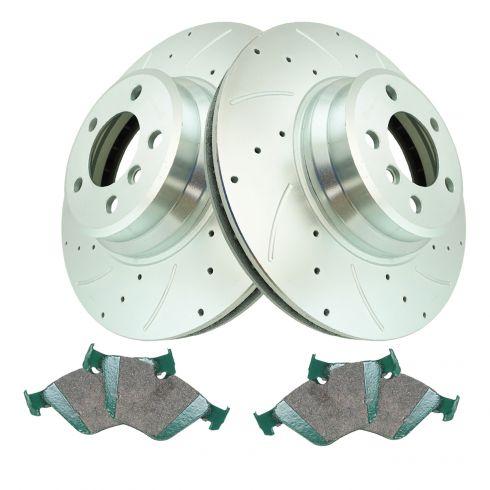 Rear Disc Brake Rotor Kit Pair Set of 2 for BMW 750i 750Li 760i 760Li New