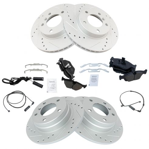 99-00 BMW 323 Front & Rear Performance Brake Rotor & Ceramic Pad Kit w/Sensors