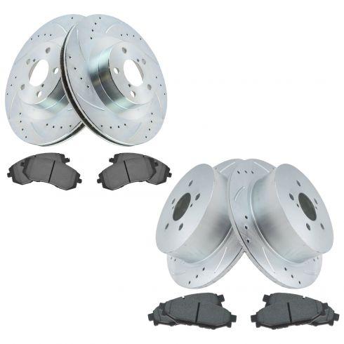 4 Brake Rotors Front+Rear Kit Pads High-End 8 Semi-Met Fits: 5lug