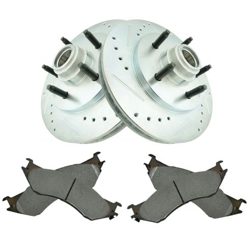 Front Performance Rotor & Premium Posi Semi Metallic Brake Pad Kit for 00-02 Expedition 2WD