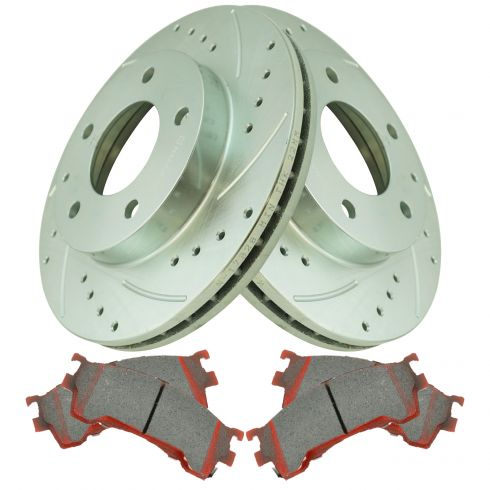 Rear Coated Disc Rotors /& Semi-Metallic Brake Pads Fit Mazda 626 Ford Probe MX-6