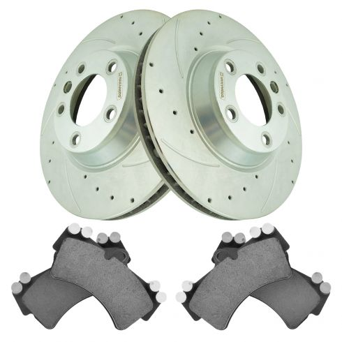 5lug 4 Ceramic Pads High-End 2 Cross-Drilled Disc Brake Rotors Front Kit Fits:- Audi Volkswagen