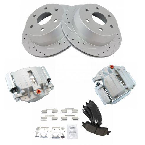 NEW Disc Brake Caliper Posi Ceramic Pad /& Performance Rotor Rear Kit for Chevy