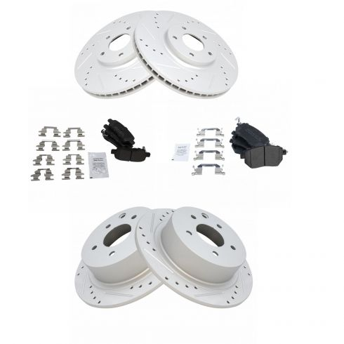 Drilled Slotted Rotors Ceramic Pad For 05-08 11 Infiniti FX35 8 4 Front Rear