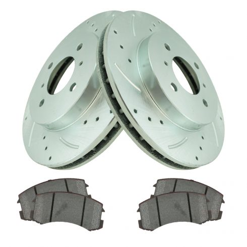 Premium Drilled and Slotted Disc Brake Rotors Pair And Ceramic Pads Rear Set