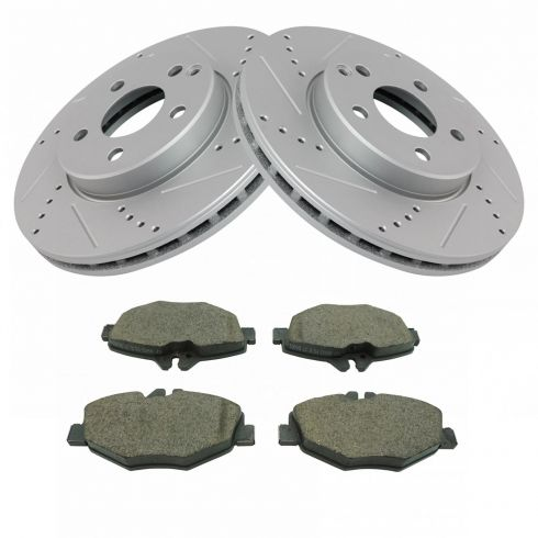 Premium Performance Drilled and Slotted Disc Brake Rotors Pair Front Set