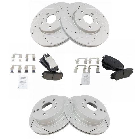 Front Rear Disc Brake Rotors And Semi-Metallic Pads Kit For Chevrolet Equinox GMC Terrain
