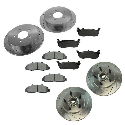 Front+Rear Rotors + Semi-Met Pads Fits:-1996 96 1997 97 1998 98 Lincoln Mark VIII -Cross Drilled-