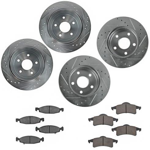 Nakamoto Metallic Brake Pad /& Rotor Kit Front /& Rear for Grand Cherokee Akebono