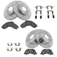 03-05 350Z; 03-05 G35 Front & Rear Posi Ceramic Pads & Performance Rotor Kit w/ Hardware