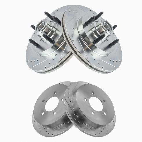 FRONT /& REAR DRILLED AND SLOTTED PERFORMANCE BRAKE Rotors For Ford Lincoln
