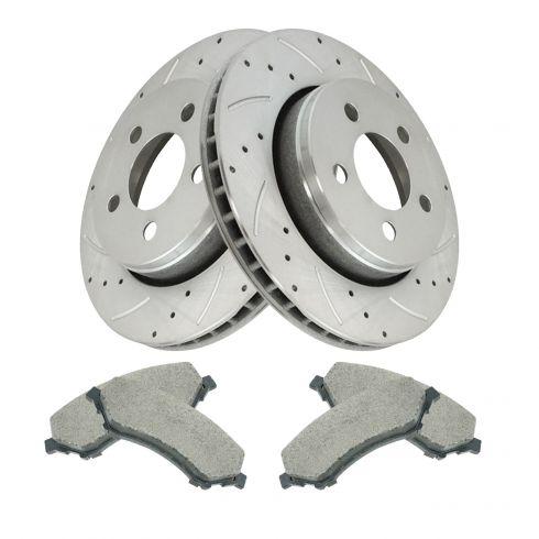 Front Rear DRILL Rotors Ceramic Pads for 2008-2011 JEEP LIBERTY DODGE NITRO