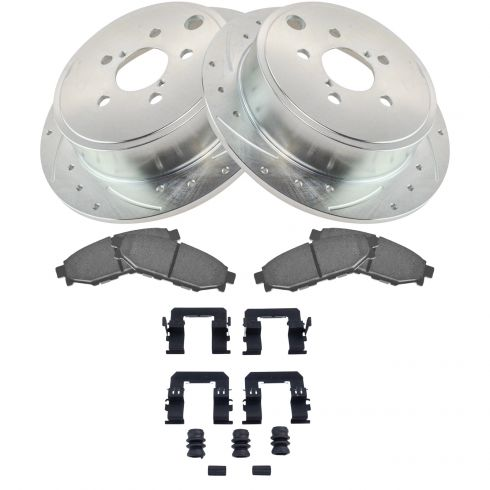 2010-2014 Subaru Legacy Outback Rear Ceramic Brake Pads w/HW and Drill Slotted Rotors