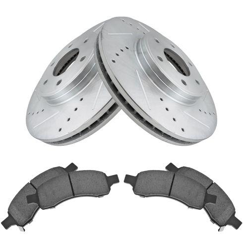 For Chevrolet 9-7x Front  Slotted Brake Rotors+Ceramic Pads Saab Trailblazer