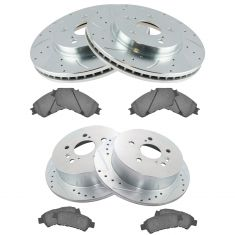 04-10 Toyot Sienna Front & Rear Premium Posi Ceramic Pad & Performance Rotor Kit