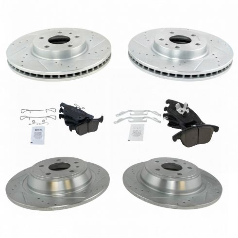 For Ford Lincoln Fusion MKZ Front Black Slotted Brake Rotors+Ceramic Brake Pad